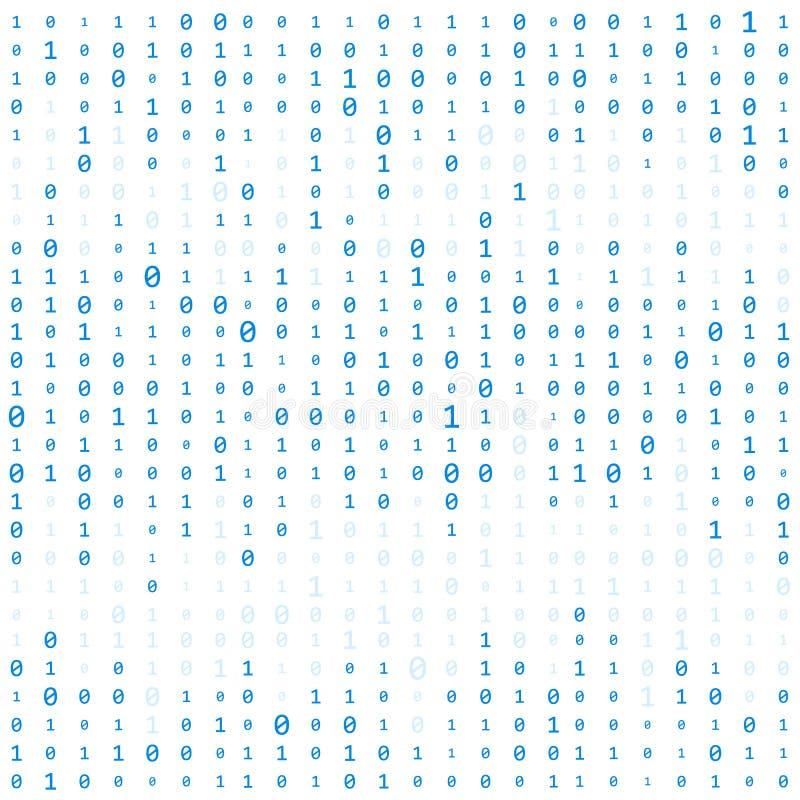 Fondo con los dígitos en la pantalla Código binario cero un fondo del blanco de la matriz bandera, modelo, papel pintado Extracto stock de ilustración