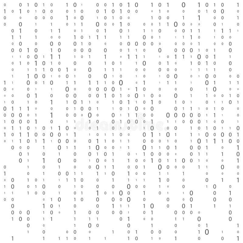 Fondo con los d?gitos en la pantalla C?digo binario cero un fondo del blanco de la matriz bandera, modelo, papel pintado Matriz a stock de ilustración