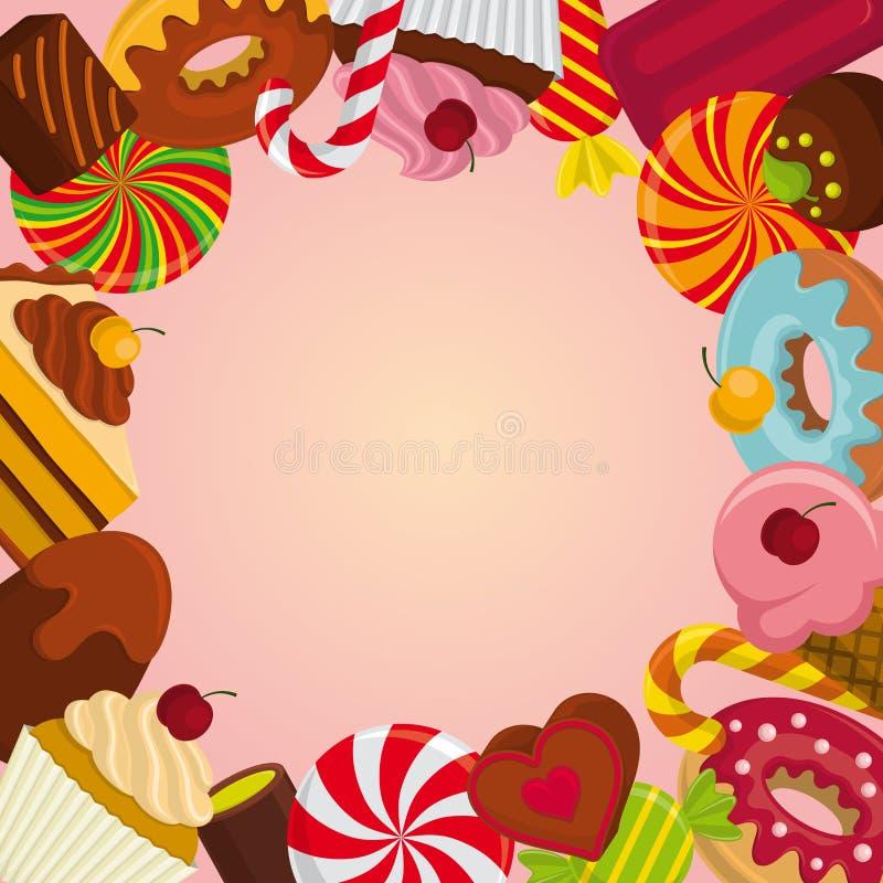 Fondo con los dulces stock de ilustración