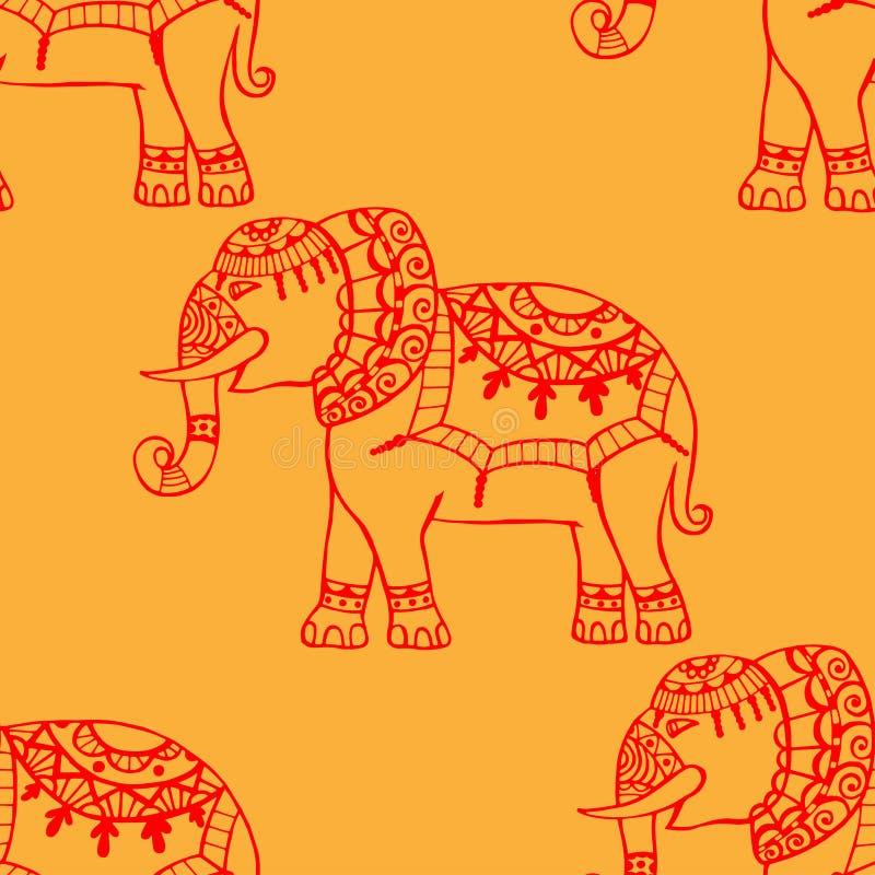 Fondo con los elefantes stock de ilustración