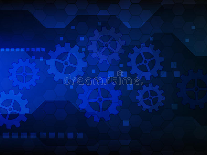 Fondo con los engranajes Fondo digital del concepto de la tecnología abstracta Ilustración del vector ilustración del vector