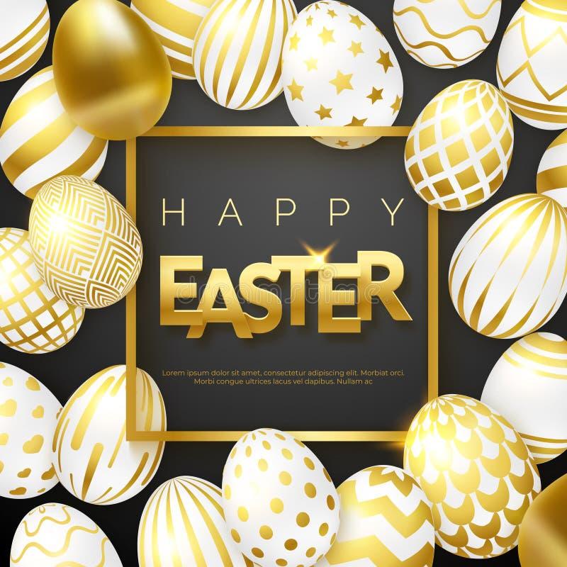 Fondo con los huevos adornados de oro realistas, marco, texto del negro de Pascua Tarjeta de felicitación del ejemplo del vector, libre illustration