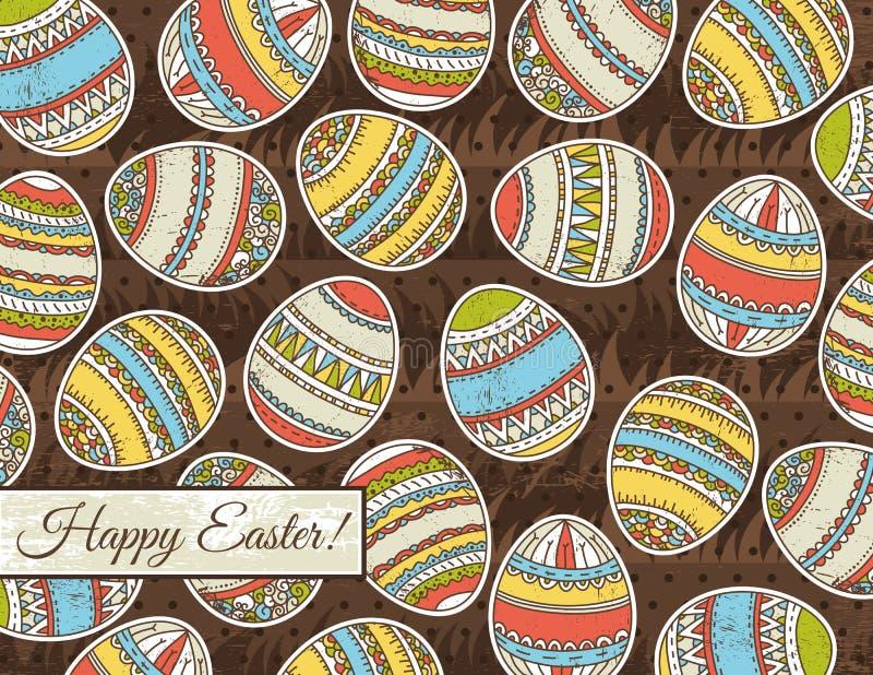 Fondo del grunge de Brown con los huevos de Pascua stock de ilustración