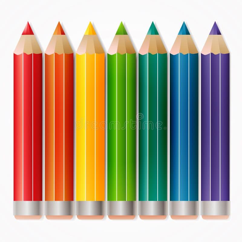 Fondo con los lápices coloreados. ilustración del vector