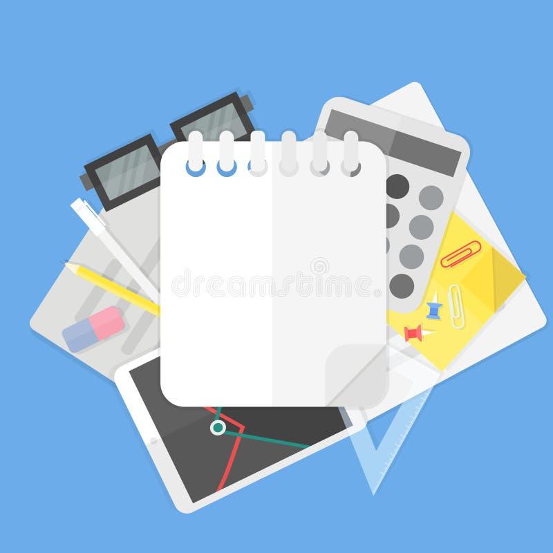 Fondo con los materiales de oficina y el cuaderno espiral vacío ilustración del vector