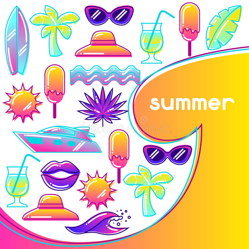 Fondo con los objetos estilizados del verano Ejemplo abstracto en color vibrante libre illustration