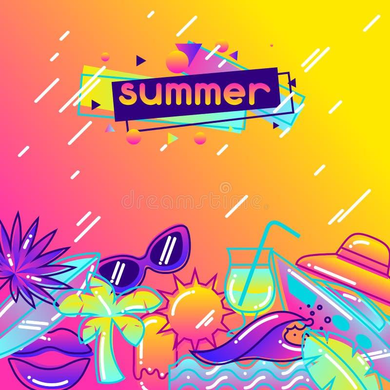 Fondo con los objetos estilizados del verano Ejemplo abstracto en color vibrante stock de ilustración
