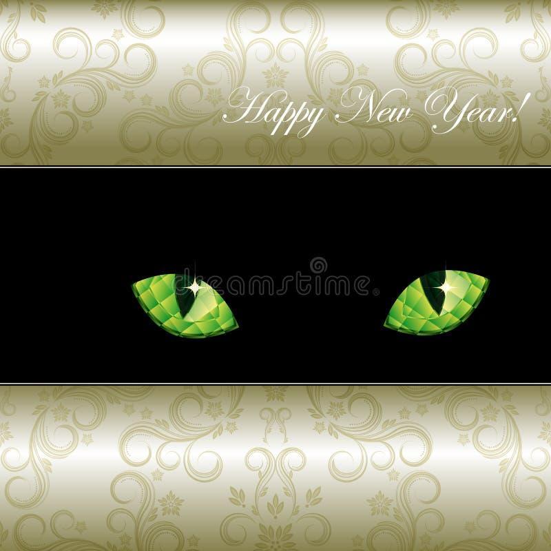 Fondo con los ojos esmeralda curiosos de un gato. ilustración del vector