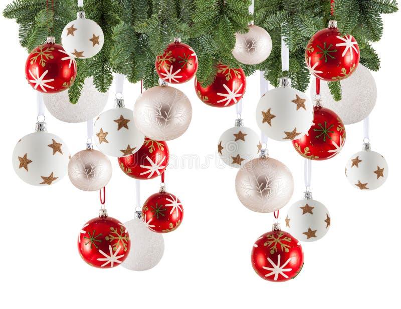 Fondo con los ornamentos, chuchería de la guirnalda de la Navidad de la Navidad imágenes de archivo libres de regalías