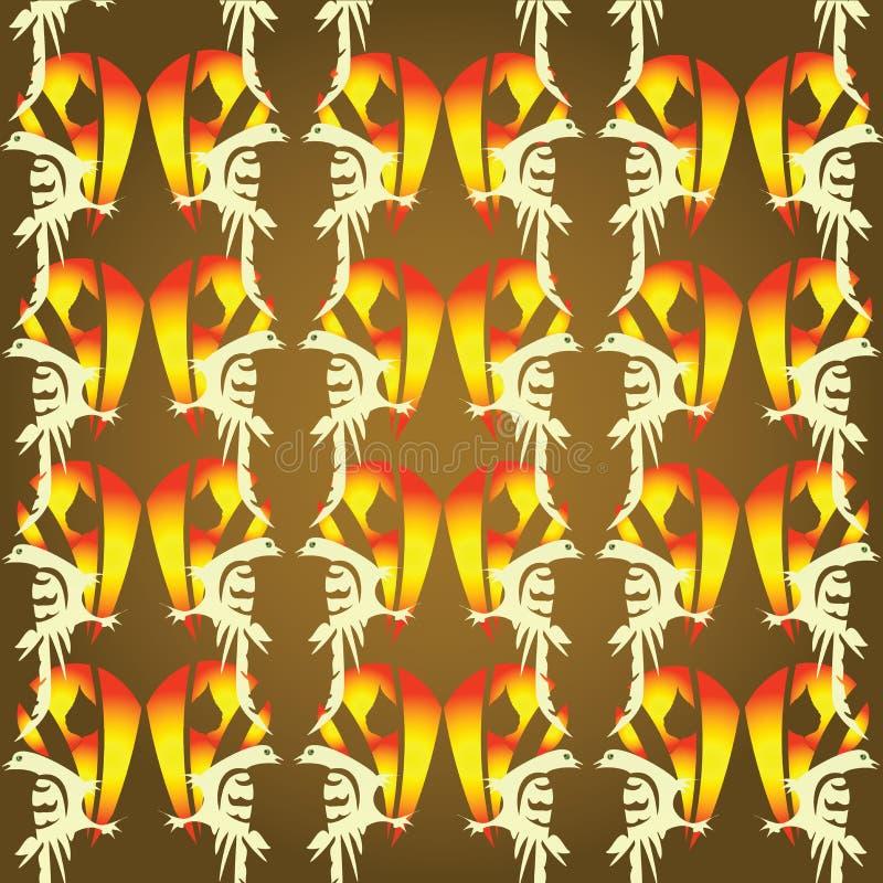 Fondo con los pájaros del fuego libre illustration