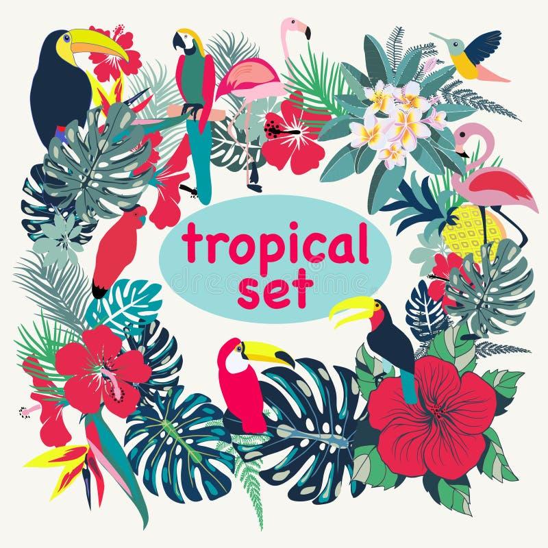 Fondo con los pájaros, las hojas de palma y las flores tropicales libre illustration