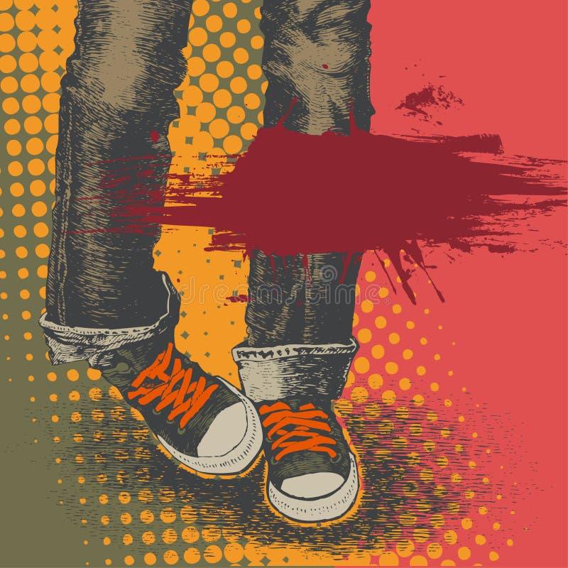 Fondo con los pantalones vaqueros y las zapatillas de deporte libre illustration