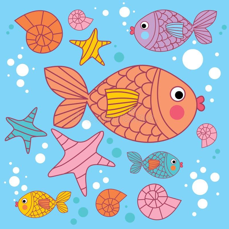 Fondo con los pescados de las historietas stock de ilustración