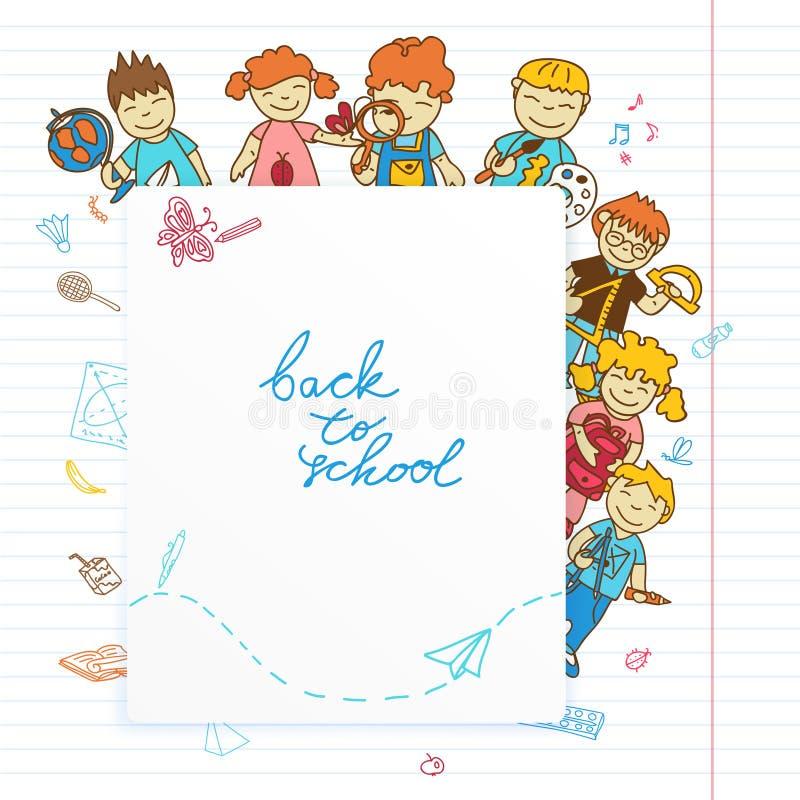 Fondo con mirada fuera de los niños de la bandera ilustración del vector