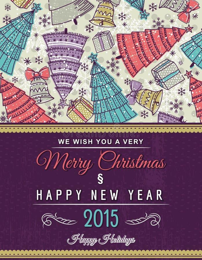 Fondo con muchos árboles de navidad y texto del deseo stock de ilustración