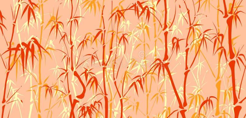 Fondo con muchos bambú en estilo asiático. stock de ilustración