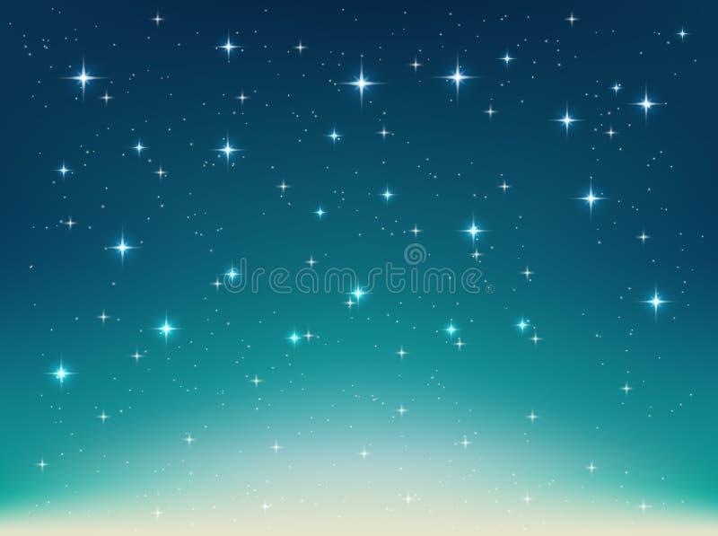 Fondo con noche, estrellas en el cielo, luz brillante ilustración del vector