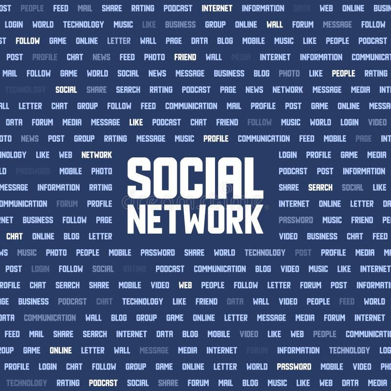 Fondo con palabras claves sociales de la red stock de ilustración