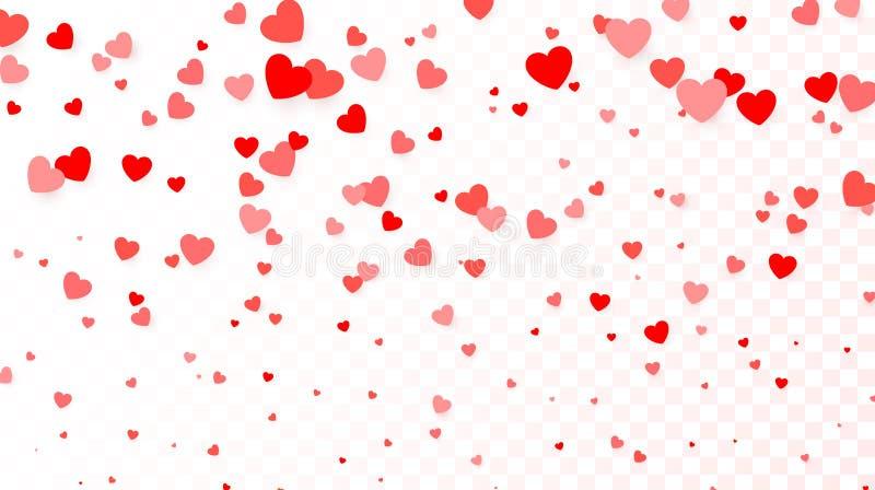 Fondo con pilotare i cuori rossi Fondo del cuore per il manifesto di progettazione, invito di nozze, giorno di madri, giorno di b illustrazione vettoriale