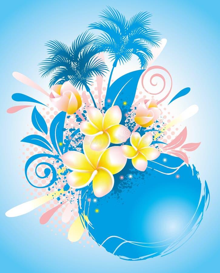 Fondo con plumeria de la flor stock de ilustración