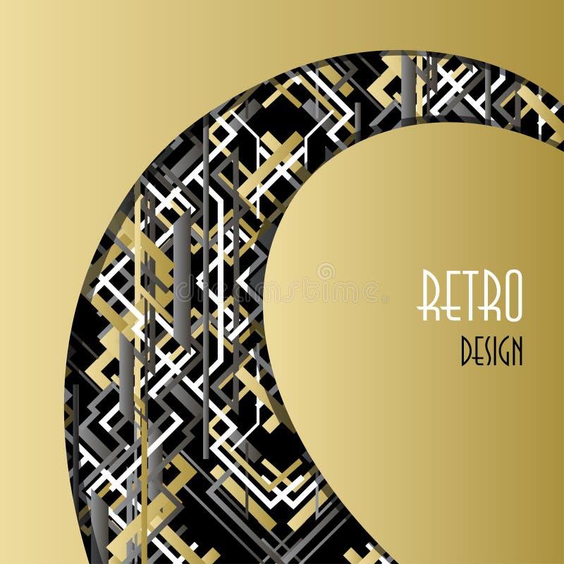 Fondo con progettazione nera bianca dorata di stile del profilo di art deco immagini stock libere da diritti