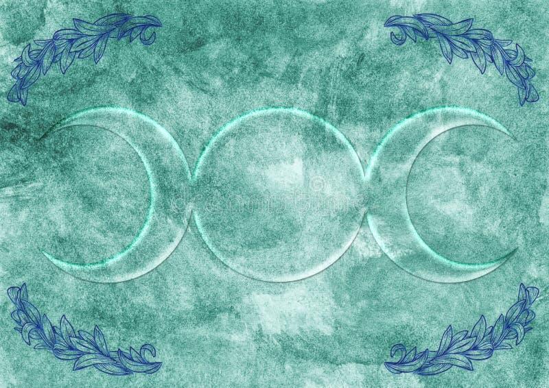 Fondo con símbolo de la diosa de Wiccan ilustración del vector