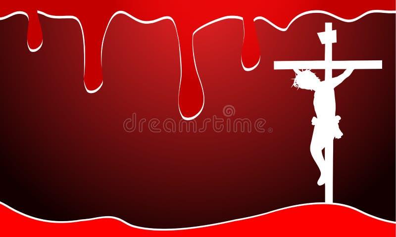Fondo con sangre y Jesucristo stock de ilustración
