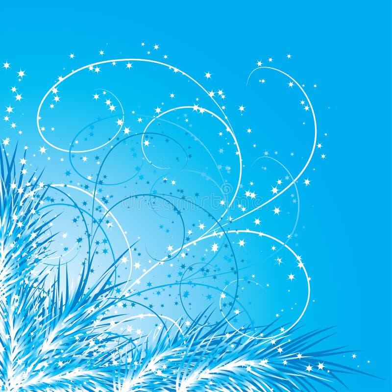Fondo con un árbol de abeto, vector de la Navidad stock de ilustración