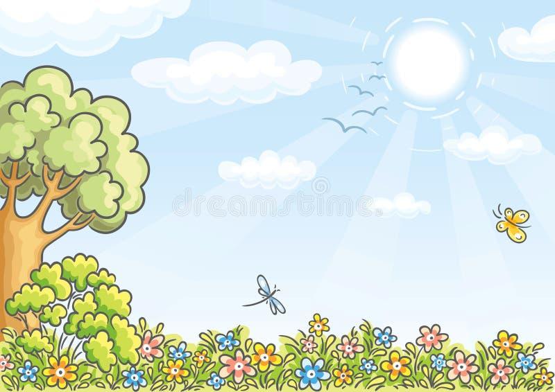Fondo con un árbol y las flores stock de ilustración