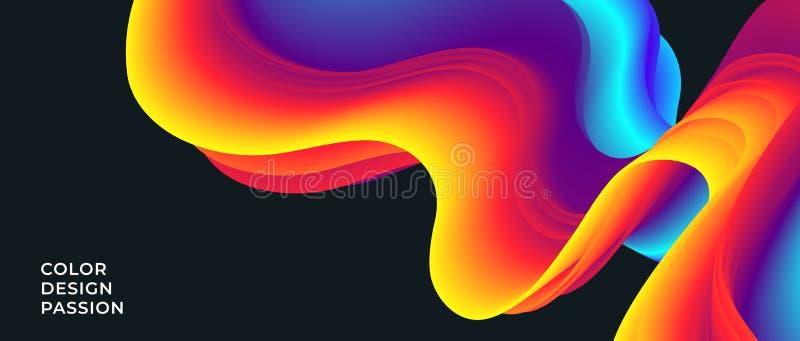 Fondo con un flusso liquido astratto di colore illustrazione di stock