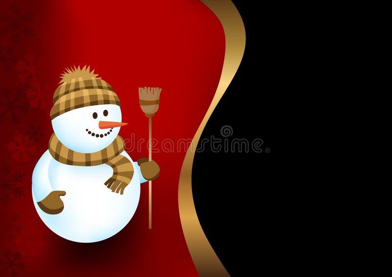 Fondo con un muñeco de nieve stock de ilustración