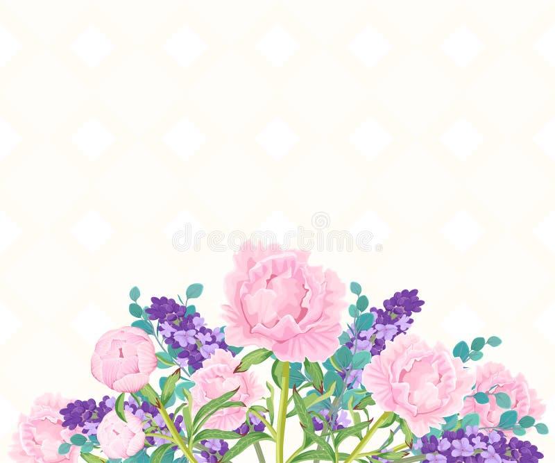 Fondo con un ramo de peonías y de lavanda Plantilla con las flores fotos de archivo