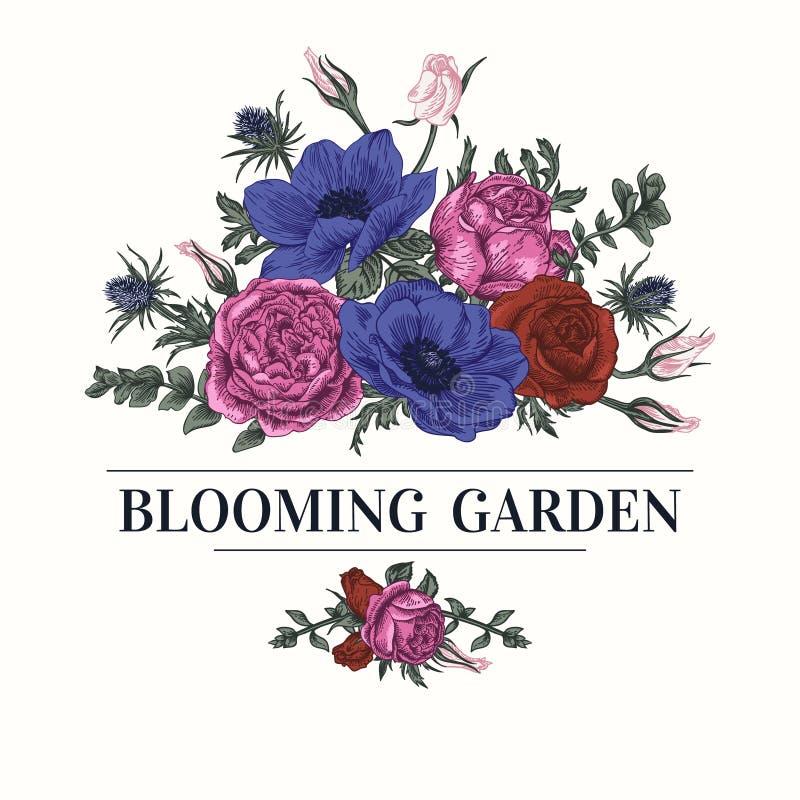 Fondo con un ramo de rosas, anémonas libre illustration