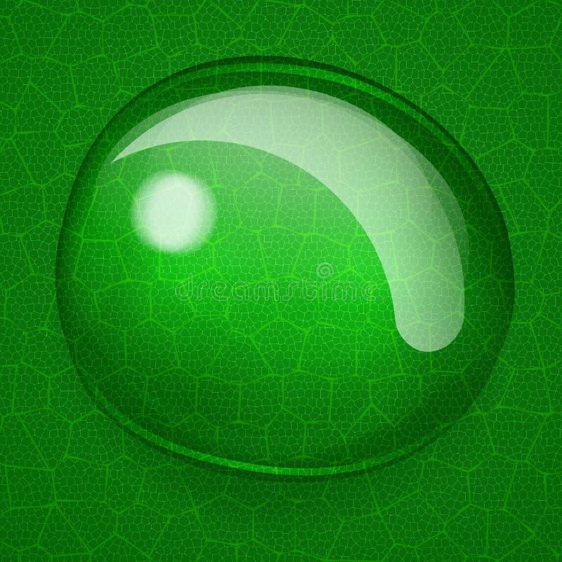 Fondo con una grande goccia sulla foglia verde illustrazione di stock