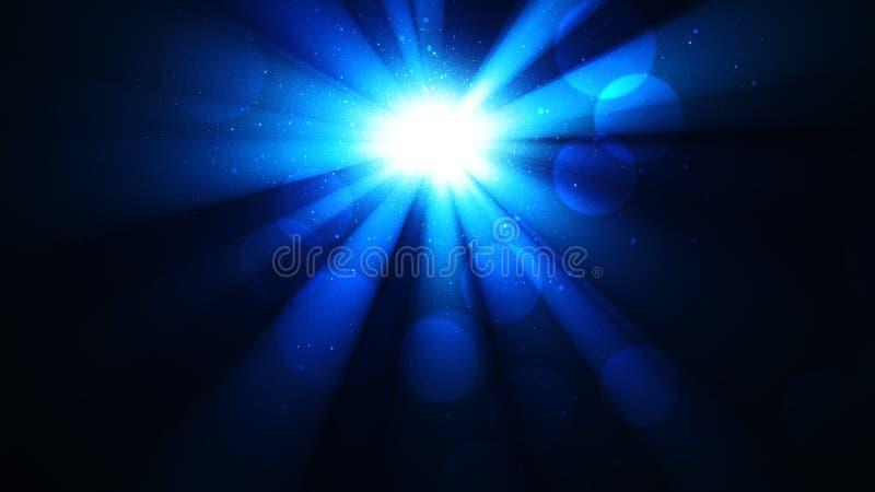 Fondo con una stella brillante con i raggi di luce e di bokeh, splendore divino, cielo scintillante, un cielo notturno luminoso d immagini stock libere da diritti