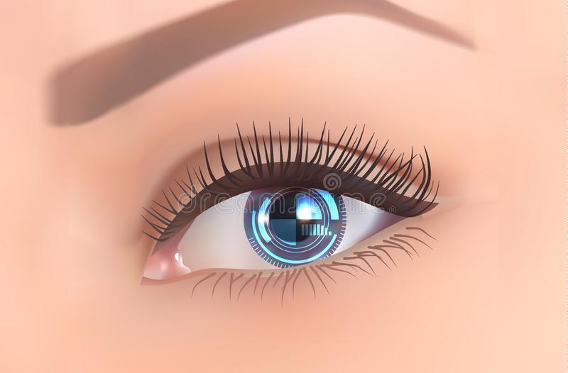 Fondo con vector de la nueva tecnología del concepto de ojo-Internet stock de ilustración