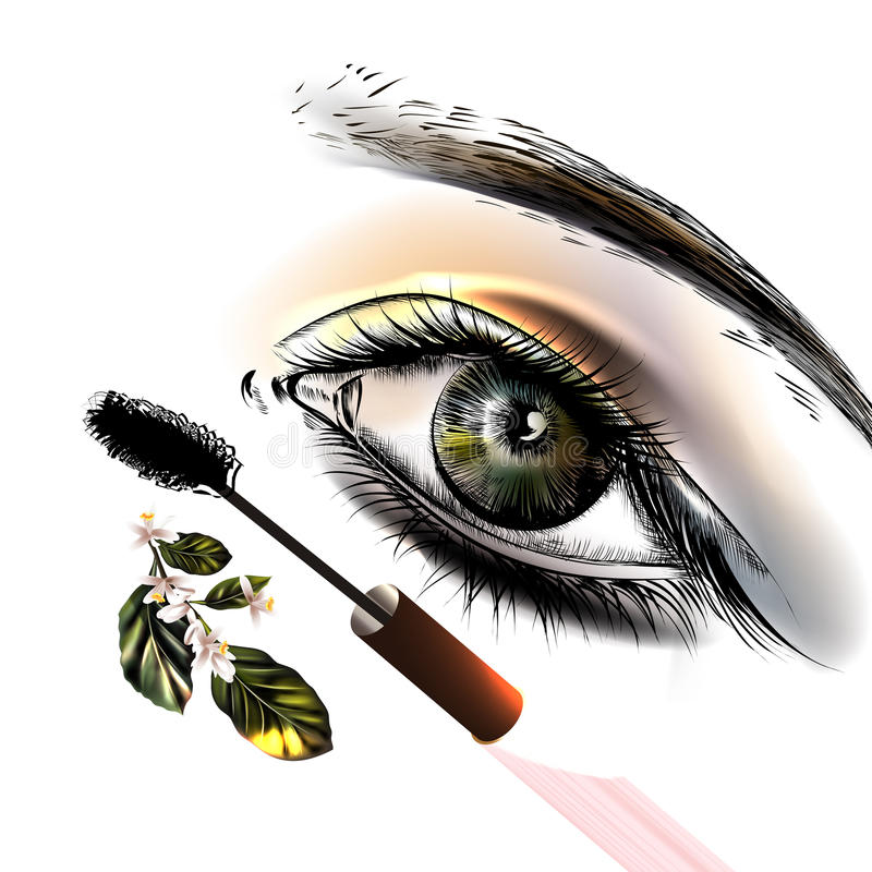 Fondo conceptual de la moda con el ojo femenino hermoso ilustración del vector