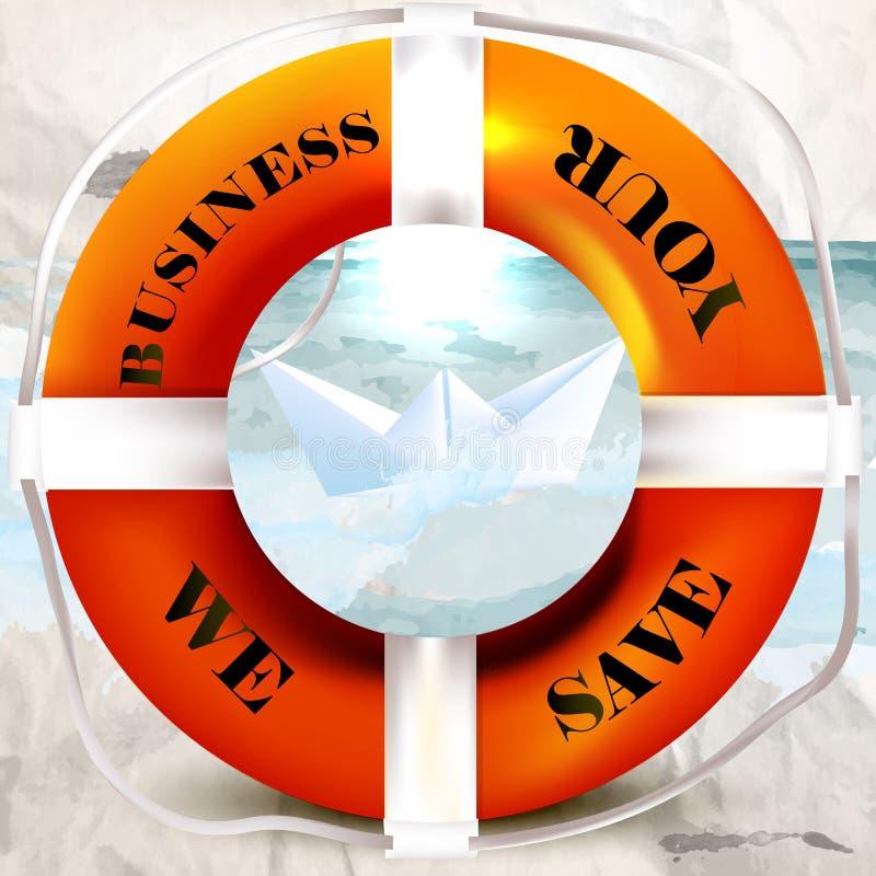 Fondo conceptual del negocio con el salvavidas, nave de papel que ahorramos libre illustration
