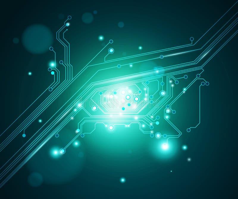 Fondo conceptual del ojo de la tarjeta de circuitos - vector ilustración del vector