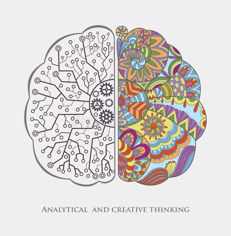 Fondo concettuale con il pensiero analitico e creativo illustrazione vettoriale