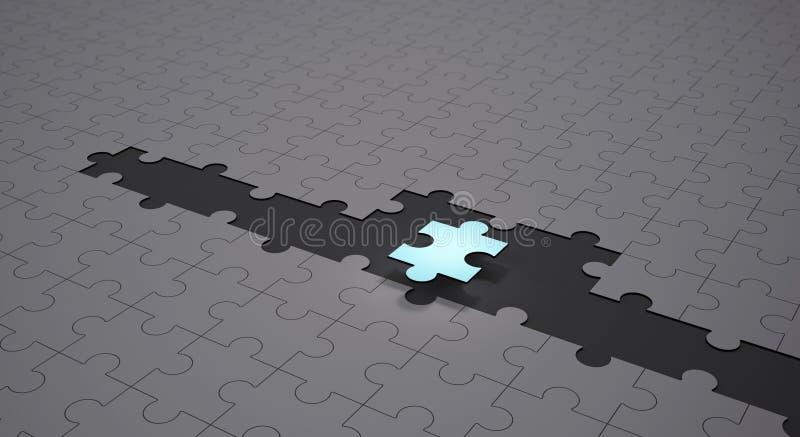 Fondo concettuale di lavoro di squadra e di direzione, puzzle blu illustrazione vettoriale