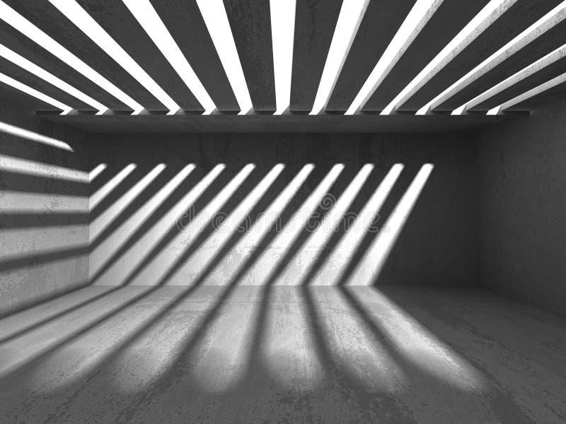 Fondo concreto di architettura Stanza scura vuota astratta illustrazione vettoriale