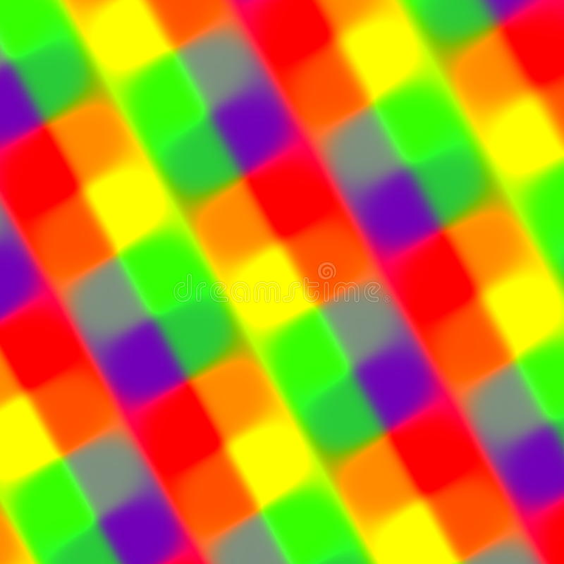 Fondo confuso variopinto di rettangoli Elemento di web Colori rossi verdi porpora di giallo arancio Fibra mista Luci al neon cald illustrazione vettoriale