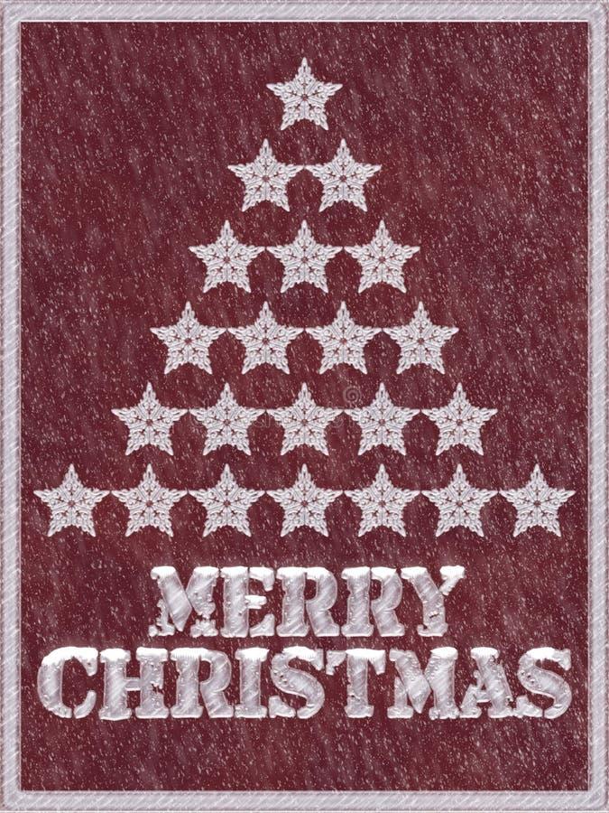 Fondo congelato Buon Natale rosso con neve illustrazione di stock