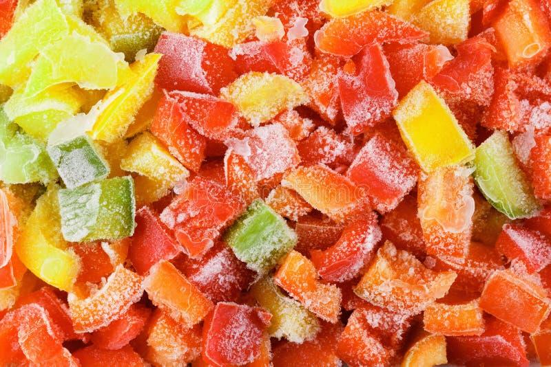Fondo congelato di verdure dell'alimento del peperone dolce, pasto sano immagini stock libere da diritti