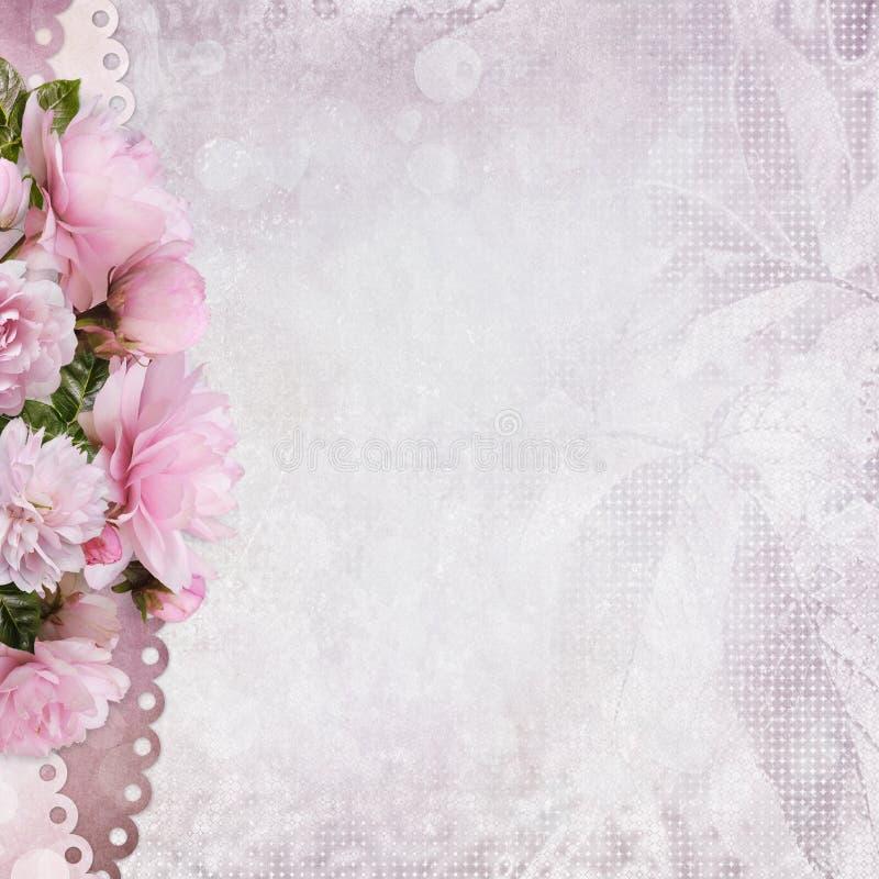 Fondo congratulatorio con una frontera de rosas rosadas stock de ilustración