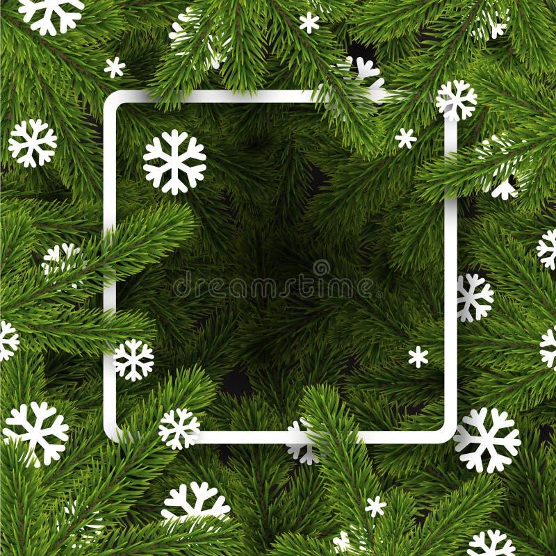 Fondo conifero quadrato di Natale con i fiocchi di neve illustrazione di stock