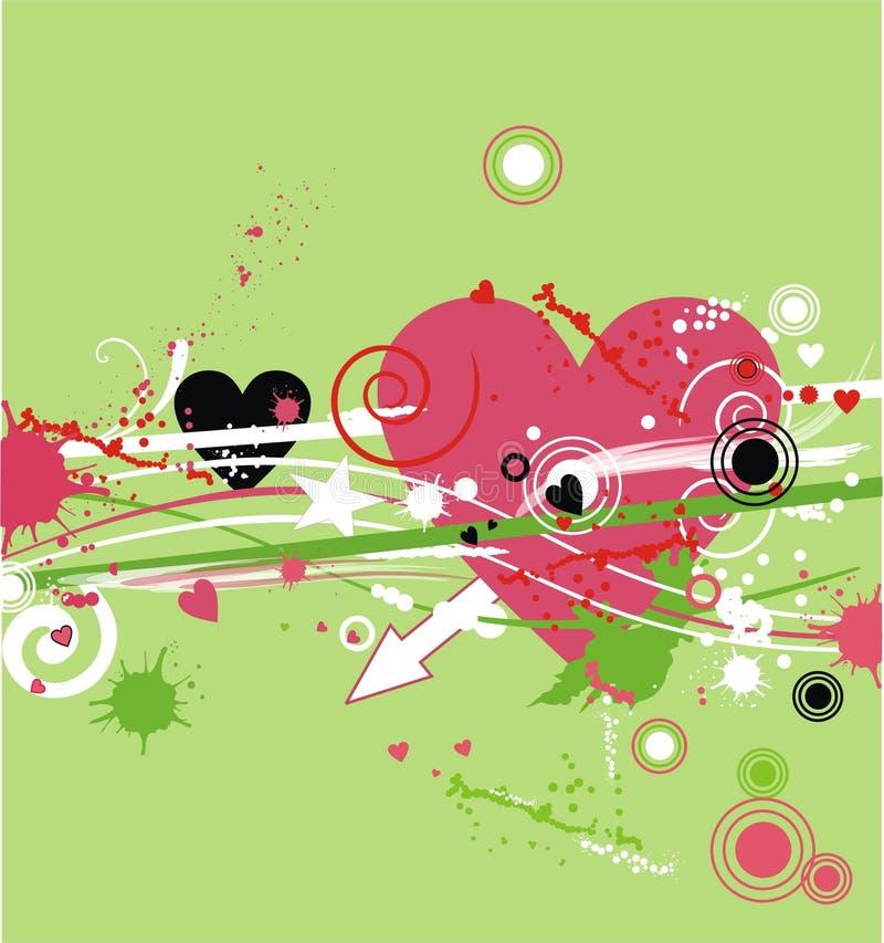 Fondo-corazón de Grunge en verde ilustración del vector