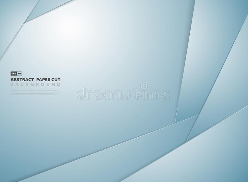 Fondo cortado de papel azul del diseño del modelo de la forma de la pendiente del extracto Vector eps10 del ejemplo stock de ilustración