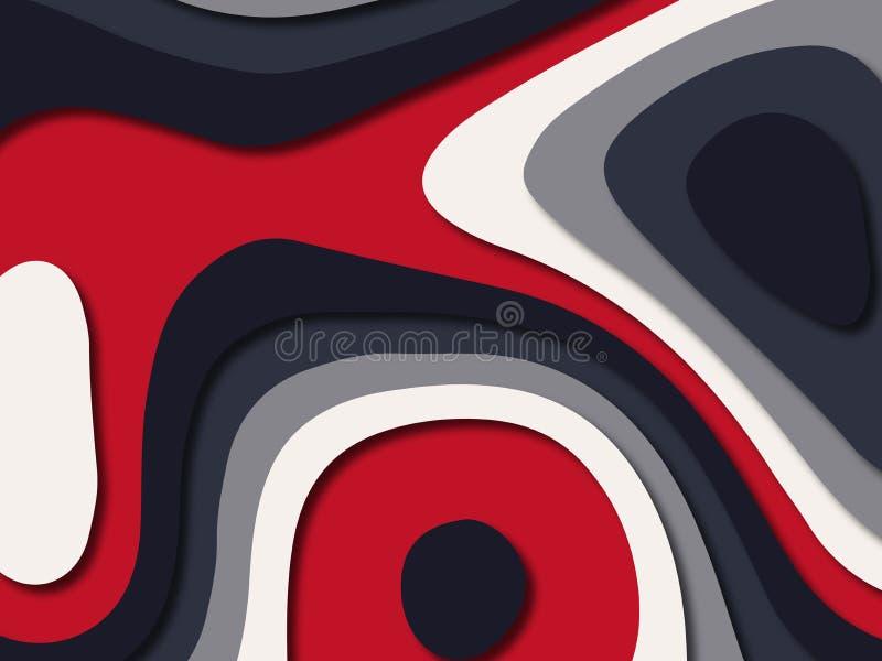 Fondo cortado de papel del progami del multicolor con color blanco rojo azul moderno stock de ilustración